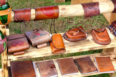 Viking leather bags.. Stock Image