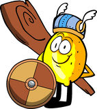 Viking lemon with a club and shield Royalty Free Stock Photo