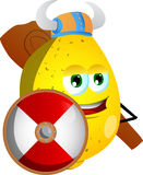 Viking lemon with a club and shield Stock Images