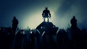 Viking lidera Zachęcający wojsko wojownik Przed bitwą ilustracja wektor