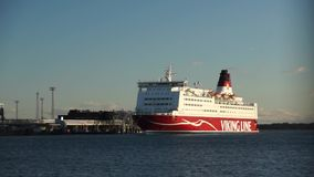 Viking Line ferry docks in the harbor stock footage