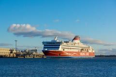 Viking Line ferry docks in the harbor Stock Photo