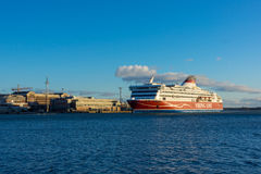 Viking Line ferry docks in the harbor Royalty Free Stock Photography