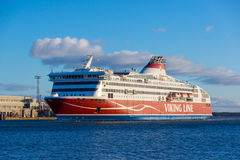 Viking Line ferry docks in the harbor Royalty Free Stock Photo