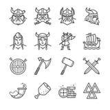 Viking line icons set. Flat Design Illustration: Viking line icons set Stock Images