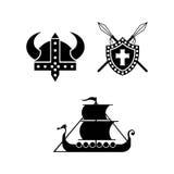Viking Logo Flat ilustração stock