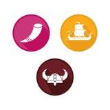 Viking Logo Flat Color Photographie stock