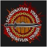 Viking logo i emblemat ilustracji
