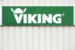 Viking logo on a wall. Saint Nazaire en Royans, France - June 23, 2017: Viking logo on a wall. Viking produces and sells lawn mowers, lawn tractors, garden Royalty Free Stock Image