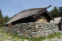 Viking long house. Model of old Viking house Stock Image