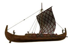 Viking Longship. Digital render of a Viking Longship vector illustration