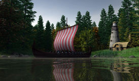 Viking Longship - Drying the Sails Stock Image