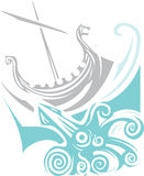 Viking Longship Sailing Stock Photo