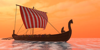 Viking Longship Ventures. A Viking longboat sails through ocean calm waters to their destinations for trade goods royalty free stock image