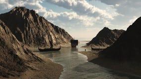 Viking Longships in Ijslandse Inham Royalty-vrije Stock Afbeeldingen