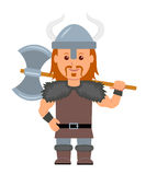 Viking. A man in a costume with a Viking ax in hand.  viking character on a white background in a flat style Royalty Free Stock Photos