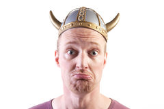 Viking man isolated helmet Stock Photo