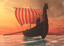 Viking Man and Longship. A Viking longboat sails to new shores for trading and companionship stock images