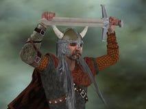 Viking Man met Zwaard Royalty-vrije Stock Afbeelding