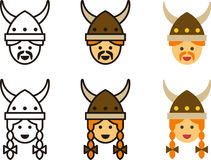 VIKING man and woman icons Royalty Free Stock Images