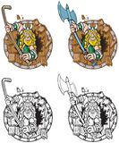 Viking Mascot Breaking Through Wood sköld royaltyfria foton