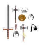 Viking medieval arms icons. A set of medieval and ancient arms Stock Images
