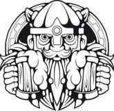 Viking met bier in handen, het embleem van het illustratieontwerp Royalty-vrije Stock Foto's