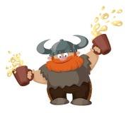 Viking met bier twee Royalty-vrije Stock Afbeelding