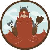 Viking met een rode vlakke baard Royalty-vrije Stock Foto