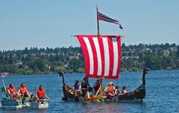 Viking milk carton boat Stock Photos