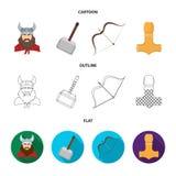 Viking no capacete com chifres, macis, curva com seta, tesouro Viquingues ajustaram ícones da coleção nos desenhos animados, esbo Foto de Stock Royalty Free