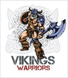 Viking norseman mascot cartoon with ax and shield Stock Photography