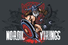 Viking norseman mascot cartoon with bludgeon and Stock Photos