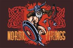 Viking norseman mascot cartoon with bludgeon and Royalty Free Stock Image