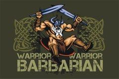 Viking norseman mascot cartoon with two swords stock illustration