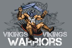 Viking norseman mascot cartoon with two swords Stock Photo