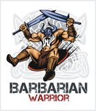 Viking norseman mascot cartoon with two swords Stock Image