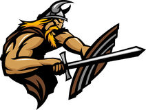 Viking Norseman Mascot Stabbing with Sword and Shi Royalty Free Stock Photos