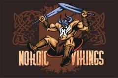 Viking-Norsemanmaskottchenkarikatur mit zwei Klingen Lizenzfreie Stockfotografie