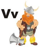 Viking with objects. Happy viking with ax and two black letters v Royalty Free Stock Photos