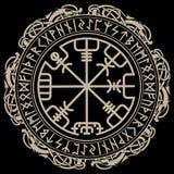 Viking-ontwerp Magisch runen- kompas Vegvisir, in de cirkel van Norse runen en draken vector illustratie