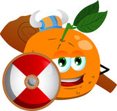 Viking orange with a club and shield Royalty Free Stock Photo