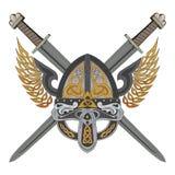 Viking påskyndade hjälmen med två korsade svärd och den skandinaviska modellen Royaltyfria Foton