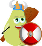 Viking pear with a club and shield Stock Photo