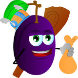 Viking plum with a club and sack Stock Images