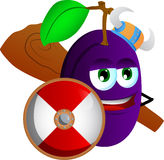 Viking plum with a club and shield Stock Photo