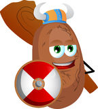 Viking potato with a club and shield Royalty Free Stock Images
