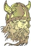 Viking-profiel met gehoornde helm stock illustratie
