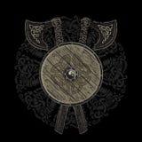 Viking projekt, krzyżować Viking bitwy cioski i osłona Viking z scandinavian runes, royalty ilustracja