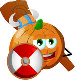 Viking pumpkin with a club and shield Stock Image